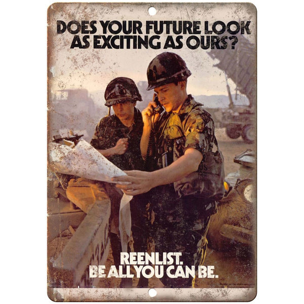 "ARMY Recruitment Poster - Be All You Can Be - 10"" x 7"" reproduction metal sign"