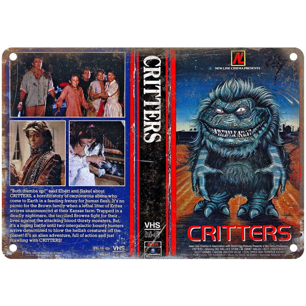 "1986 Critters Movie VHS Cover 10"" x 7"" Reproduction Metal Sign"