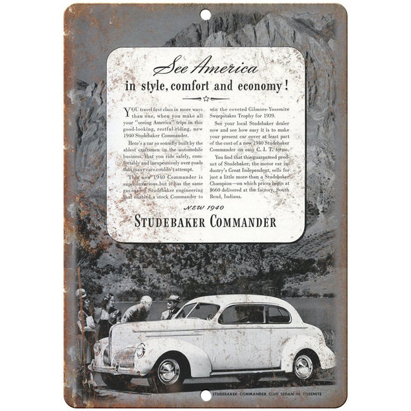 "1940 Studebaker Commander Vintage Car Ad 10"" x 7"" Reproduction Metal Sign A427"