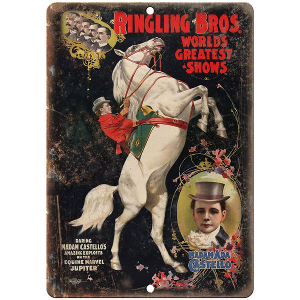 "Ringling Bros Madamada Castello Circus 10"" X 7"" Reproduction Metal Sign ZH58"
