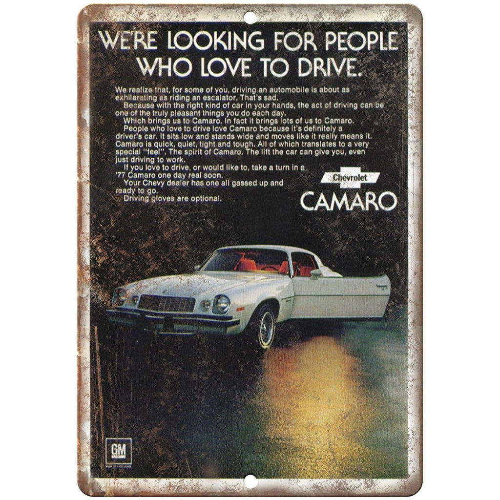 "Chevy Camaro Sports Car Advertisment Man Cave 10"" x 7"" Reproduction Metal Sign"