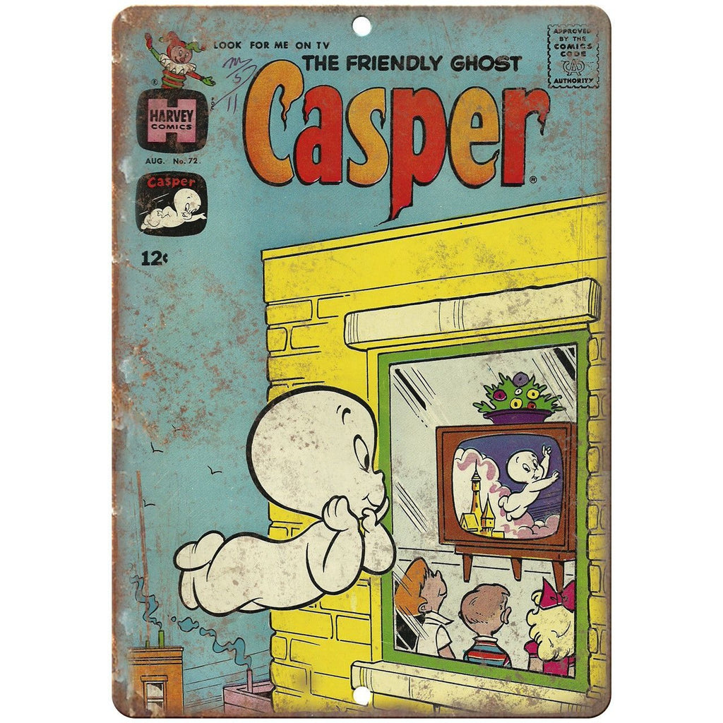 "Casper The Friendly Ghost Vintage Comic 10"" X 7"" Reproduction Metal Sign J208"