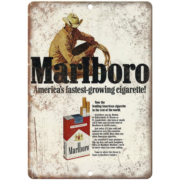 "Marlboro Man Cigarette Tobacco Vintage Ad 10"" X 7"" Reproduction Metal Sign Y18"