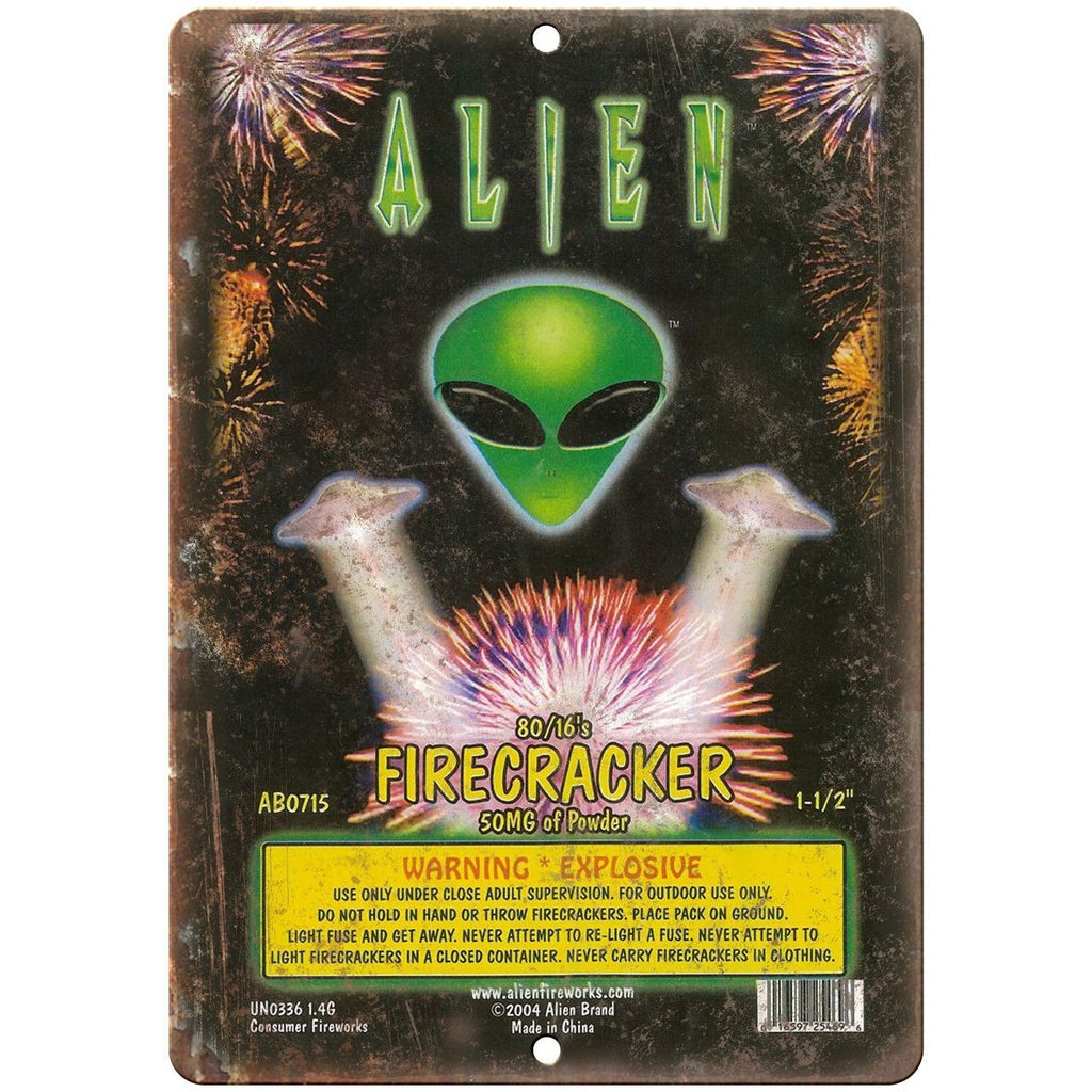 "Alien Firework Package Art 10"" X 7"" Reproduction Metal Sign ZD85"