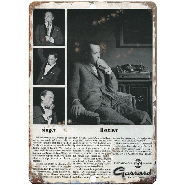 "Frank Sinatra Garrard 10"" x 7"" Reproduction Metal Sign D17"