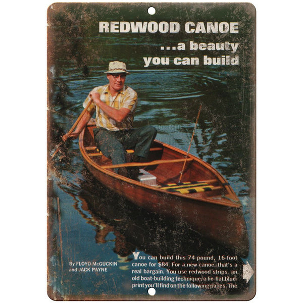 "Redwood Canoe Vintage Boat Ad 10"" x 7"" Reproduction Metal Sign L54"