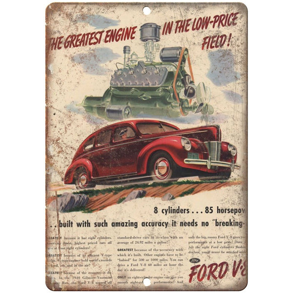 "RARE Vintage Ford V-8 Wagon Ad 10"" x 7"" Reproduction Metal Sign"