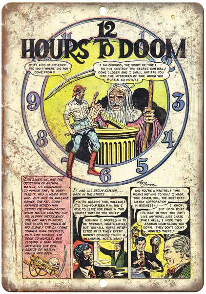 "12 Hours To Doom Comic Book Strip Art 10"" x 7"" Reproduction Metal Sign J525"
