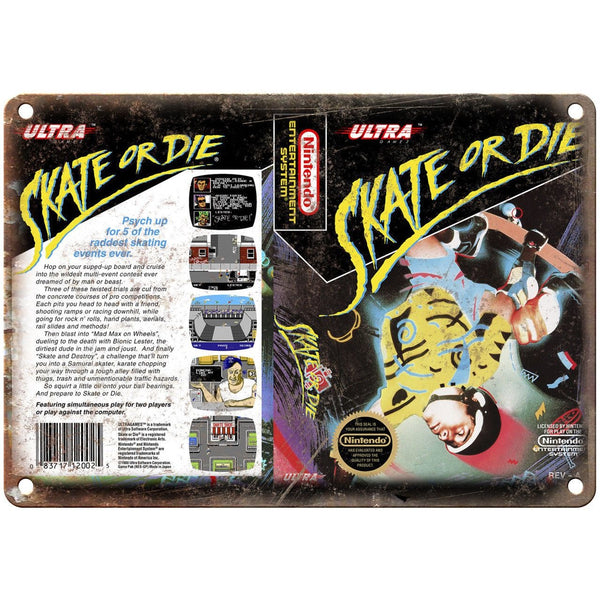 "Nintendo Skate or Die Video Game Box 10"" x 7"" Reproduction Metal Sign G130"