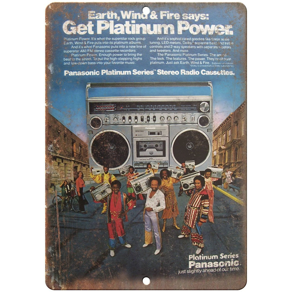 "Earth, Wind & Fire Panasonic Boombox Ghetto Blaster 10""x7"" retro metal sign D14"
