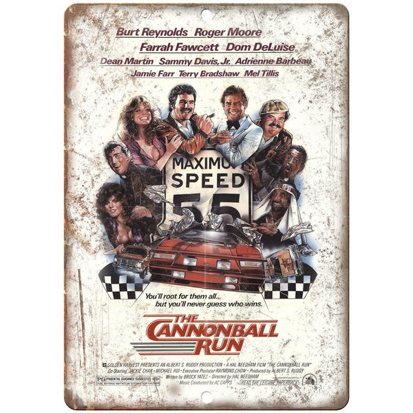 "The Cannonball Run Movie Poster 10"" x 7"" Retro Look Metal Sign"