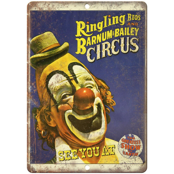 "Ringling Bros Clown Circus Vintage Poster 10"" X 7"" Reproduction Metal Sign ZH39"