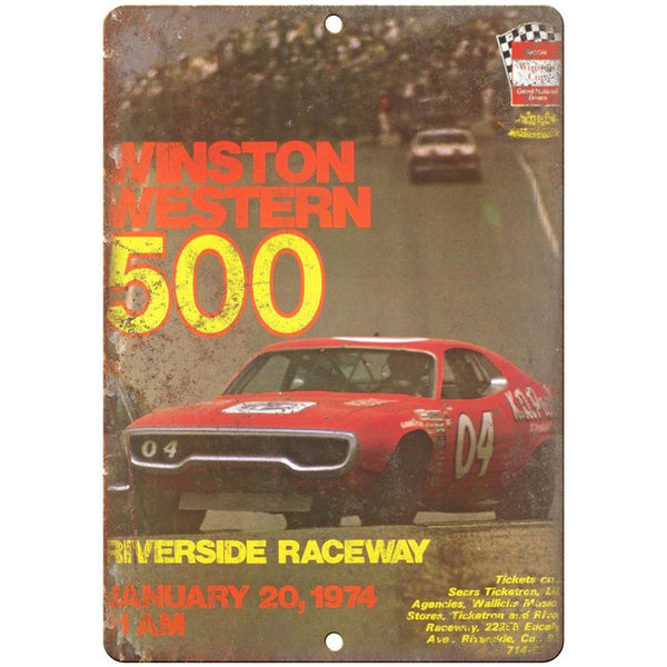 "1974 Winston Western 500, Riverside Raceway 10"" x 7"" Retro Metal Sign"