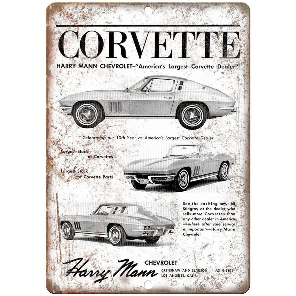 "1965 Chevy Corvette Harry Mann Dealer 10"" x 7"" Reproduction Metal Sign"