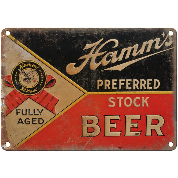 "10"" x 7"" Metal Sign - Hamm's Beer Porcelian Sign - Vintage Look Reproduction"