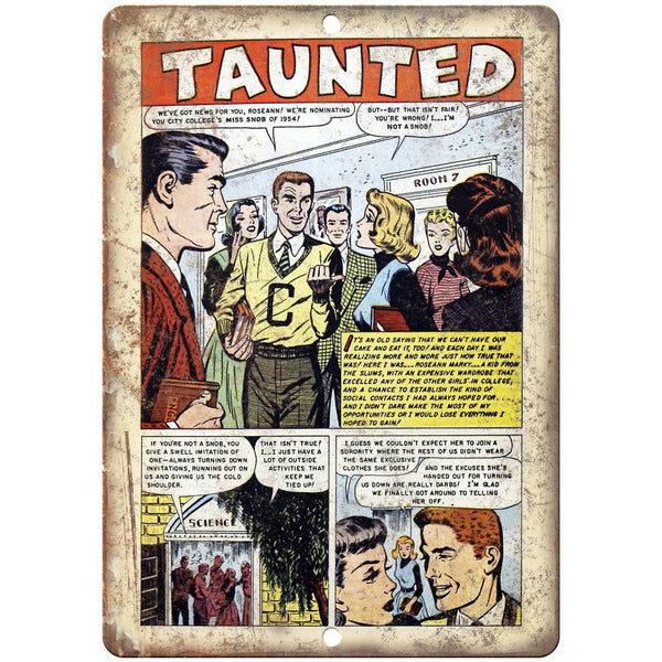 "Ace Comics Taunted Vintage Comic Book Art 10"" X 7"" Reproduction Metal Sign J408"