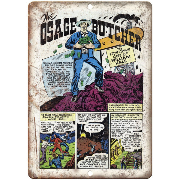 "Osage Butcher Vintage Comic Strip Penalty! 10"" X 7"" Reproduction Metal Sign J345"