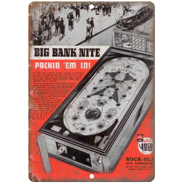 "Rock-Ola Mfg. Big Bank Nite Pinball Machine 10""x7"" Reproduction Metal Sign G204"