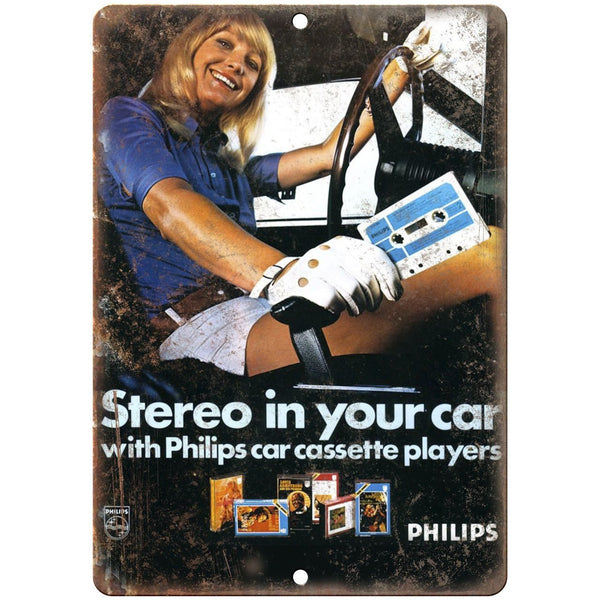 "Philips Stereo In Your Car Cassette Player RARE 10"" x 7"" Reproduction Metal Sign"