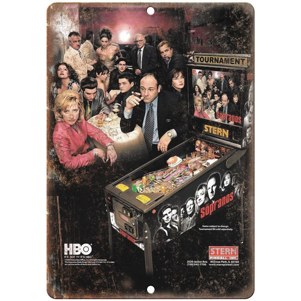 "The Sopranos HBO Pinball Machine Ad 10"" x 7"" Reproduction Metal Sign G216"