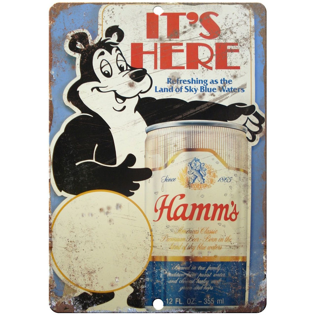 "10"" x 7"" Metal Sign - Hamms Beer - Vintage Look Reproduction"