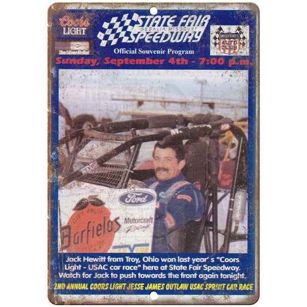 "State Fair Speedway United Auto Club Program 10""X7"" Reproduction Metal Sign A519"