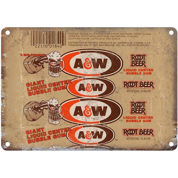 "A&W Root Beer Retro Liquid Bubble Gum Wrapper 10"" x 7"" Reproduction Metal Sign"