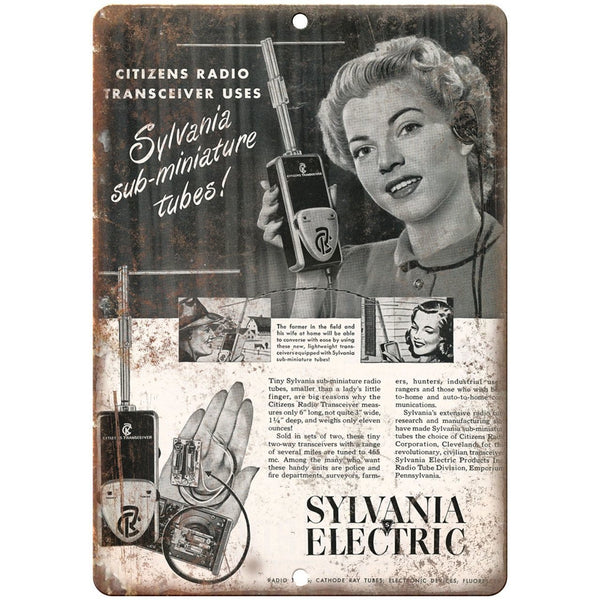 "Sylvania Electric Radio Transceiver 10"" x 7"" reproduction metal sign"