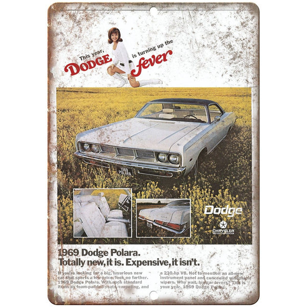 "1969 Dodge Fever Polara Vintage Ad 10"" x 7"" Reproduction Metal Sign A235"