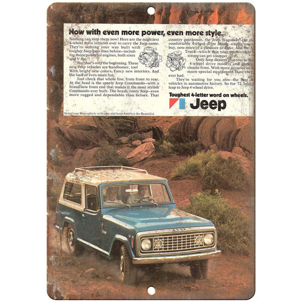 "RARE 70's Jeep ad 10"" x 7"" Reproduction Metal Sign"