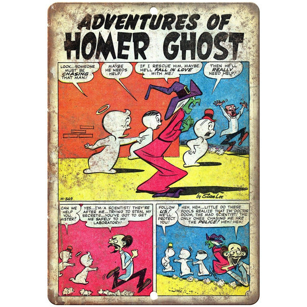 "Homer The Ghost Vintage Comic Strip Art 10"" X 7"" Reproduction Metal Sign J191"