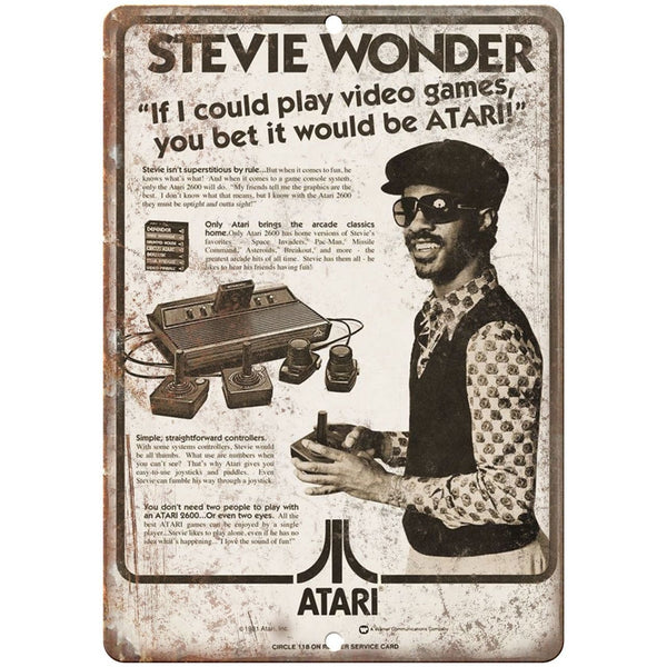 "Atari Stevie Wonder RARE Ad, Gaming, Game Room 10"" x 7"" Reproduction Metal Sign"