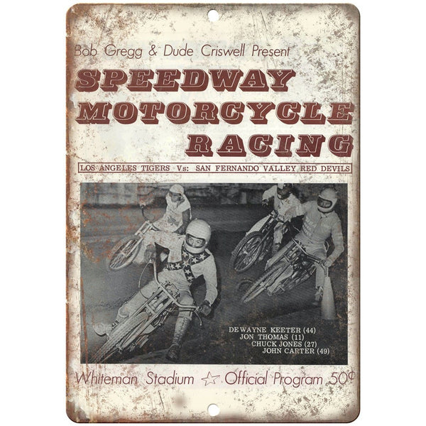"Whiteman Stadium Speedway Motorcycle Racing 10""X7"" Reproduction Metal Sign A583"