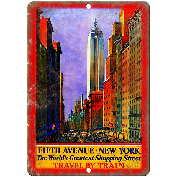 "New York City Fifth Avenue Travel Poster 10"" x 7"" Reproduction Metal Sign T17"