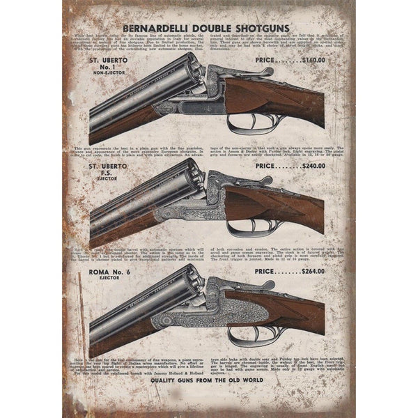 "Beretta Firearms Double Shotgun Vintage Ad 10"" x 7"" Reproduction Metal Sign"