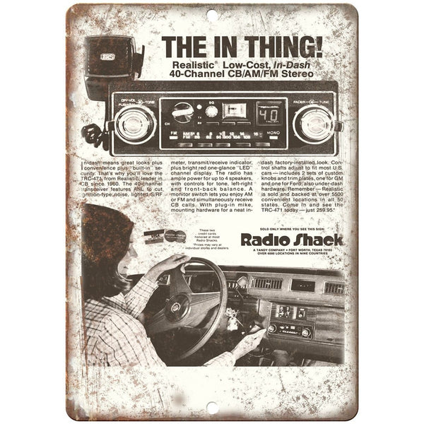"Radio Shack Realistic CB AM/FM Car Stereo10"" x 7"" Reproduction Metal Sign"