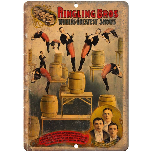 "Ringling Brothers Raschetta Brothers 10"" X 7"" Reproduction Metal Sign ZH108"