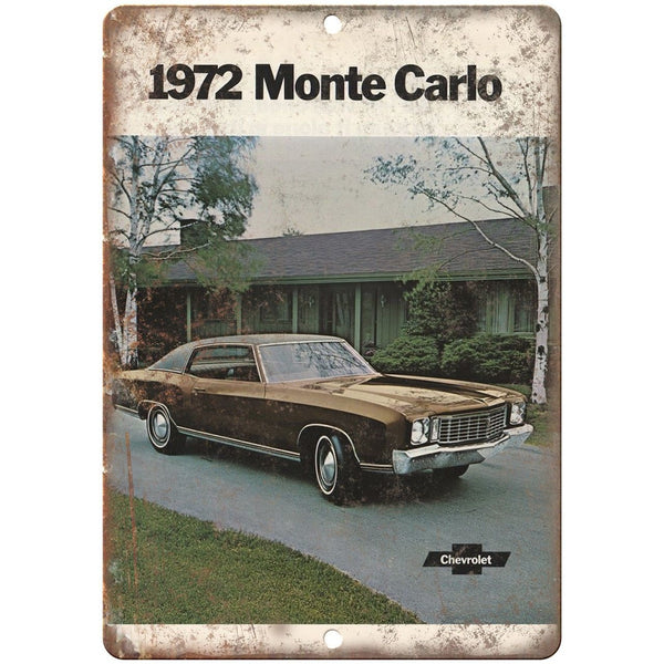 "1972 Chevy Monte Carlo Vintage Print Ad 10"" x 7"" Reproduction Metal Sign"