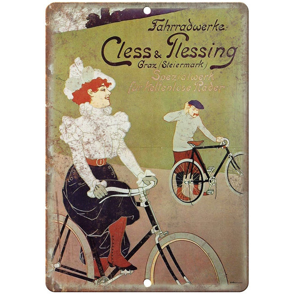 "Cless & Plessing Bicycle Vintage Ad 10"" x 7"" Reproduction Metal Sign B344"