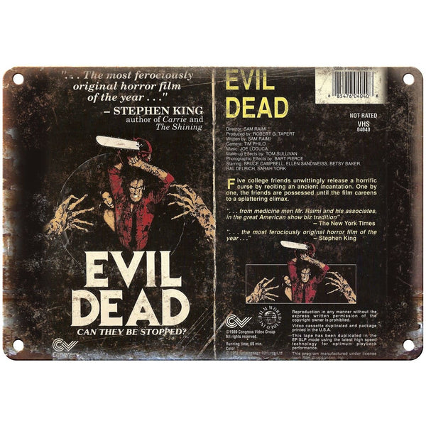 "Evil Dead Congress Video Group VHS Box Art 10"" X 7"" Reproduction Metal Sign V36"