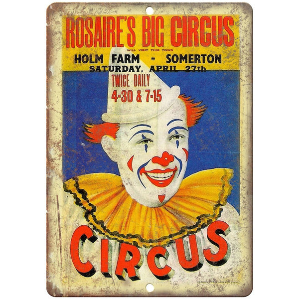 "Rosaires Big Circus Vintage Poster 10"" X 7"" Reproduction Metal Sign ZH55"