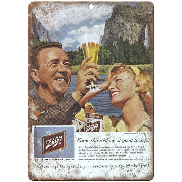 "Schlitz Vintage Beer Ad Breweriana 10"" x 7"" Reproduction Metal Sign E17"