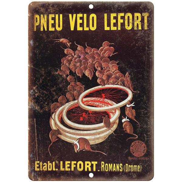 "Pneu Velo Lefort Bicycle Vintage Ad 10"" x 7"" Reproduction Metal Sign B352"