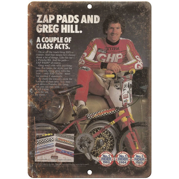 "10"" x 7"" Metal Sign Zap Pads, Greg Hill, BMX - Vintage Look Reproduction B46"