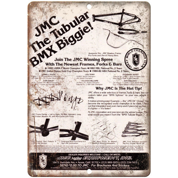 "JMC BMX Racing Fraes Forks Bars Ad 10"" x 7"" Reproduction Metal Sign B459"