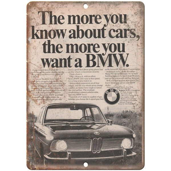 "BMW Hoffman Motors Corporation Vintage Ad 10"" x 7"" Reproduction Metal Sign A104"