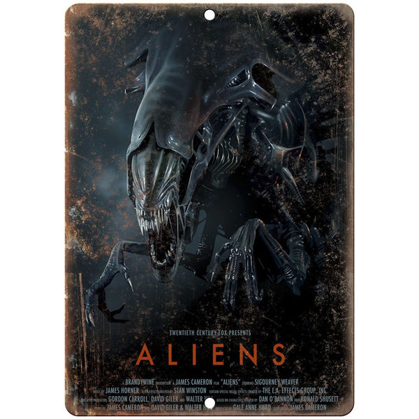 "10"" x 7"" Metal Sign - Aliens Movie Poster - Vintage Look Reproduction"