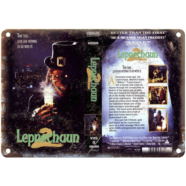 "Leprechaun 2 Warwick Davis VHS Box Art 10"" X 7"" Reproduction Metal Sign V13"