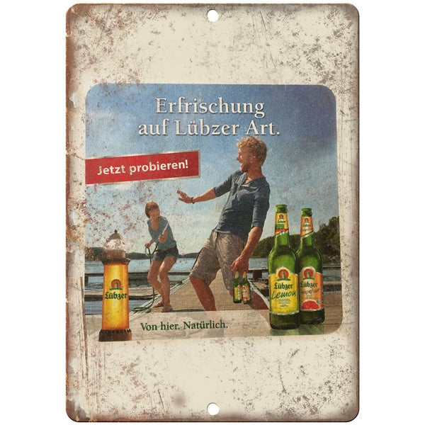 "Lubzer Beer Vintage Ad Man Cave Décor 10"" x 7"" Reproduction Metal Sign E245"