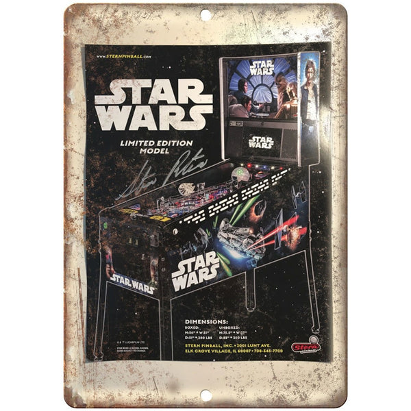 "Star Wars Vintage Pinball Machine Ad 10"" x 7"" Reproduction Metal Sign G221"